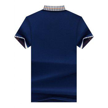 Checked Collar Chest Pocket Polo Shirt - L L