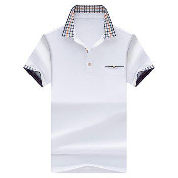 Checked Collar Chest Pocket Polo Shirt - WHITE XL