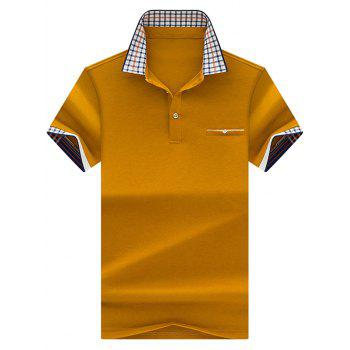 Checked Collar Chest Pocket Polo Shirt - GINGER XL