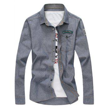 Long Sleeve Graphic Appliques Chambray Shirt