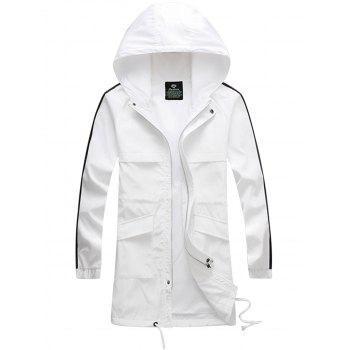 Hooded Side Stripe Drawstring Zip Up Polyester Coat