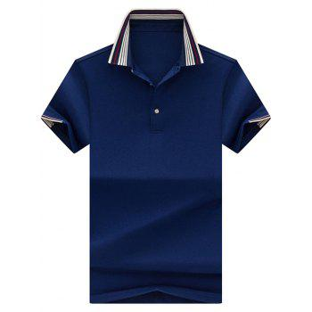 Stripe Collar Half Button Golf Shirt - ROYAL 2XL