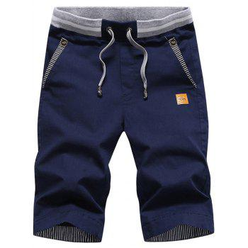 Stripe Panel Drawstring Waist Bermuda Shorts - DEEP BLUE DEEP BLUE