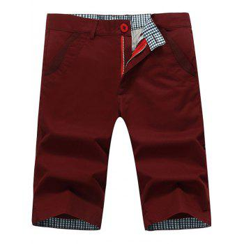 Back Pockets Zipper Fly Bermuda Shorts - WINE RED WINE RED