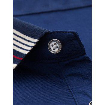 Stripe Collar Half Button Golf Shirt - L L