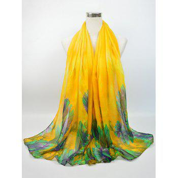 Flowering Blossom Pattern Retro Voile Gossamer Scarf - YELLOW YELLOW