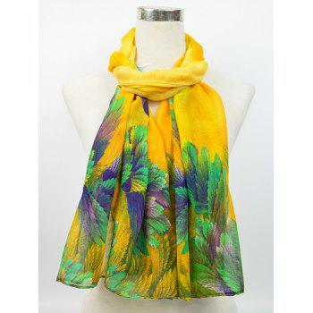 Flowering Blossom Pattern Retro Voile Gossamer Scarf -  YELLOW