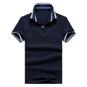 Striped Trim Short Sleeve Golf Shirt - 3XL 3XL