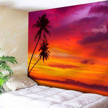 Coconut Trees Sunset Print Tapestry Microfiber Wall Hanging