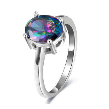 Artificial Gem Oval Ring - SILVER 7