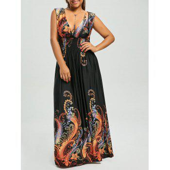 Paisley Plus Size Plunge V Neck Maxi Bohemian Dress