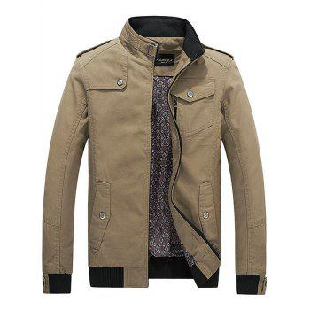 Flap Pocket Front Stand Collar Jacket