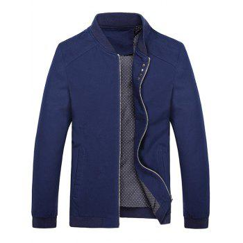 Stand Collar Button Embellish Fall Jacket