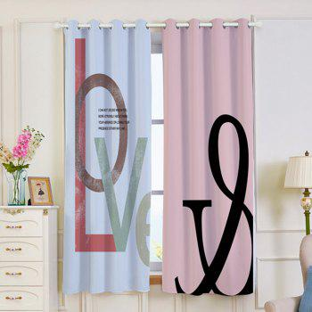2 Panels Love Print Blackout Window Curtains - multicolorcolore W53 INCH * L63 INCH