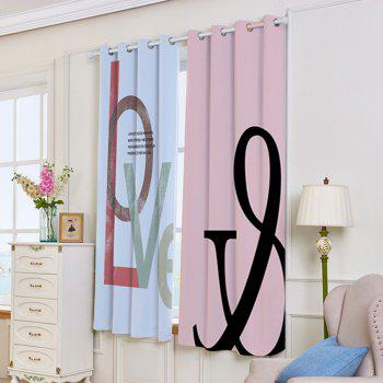 2 Panels Love Print Blackout Window Curtains - COLORMIX COLORMIX