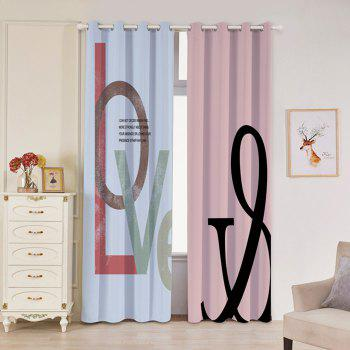 2 Panels Love Print Blackout Window Curtains - COLORMIX W53 INCH * L96.5 INCH
