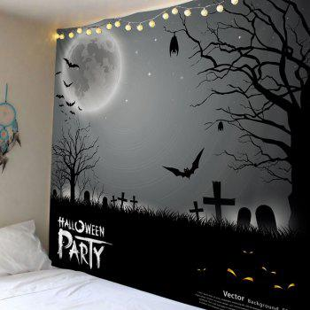 Wall Hanging Art Halloween Cemetery Print Tapestry - GRAY W79 INCH * L59 INCH