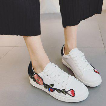 Embroidery Low-top Faux Leather Sneakers