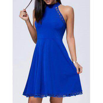 Crochet Insert Sleeveless Mini Skater Dress - BLUE M