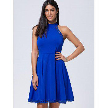 Crochet Insert Sleeveless Mini Skater Dress - BLUE L