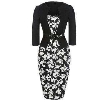Floral Pencil Belt Dress