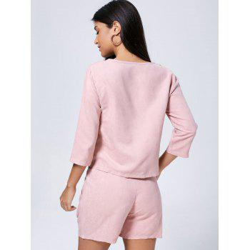 V Neck Faux Suede Two Piece Suit - PINK PINK
