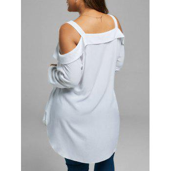 Plus Size Button Up Cold Shoulder Blouse - WHITE WHITE