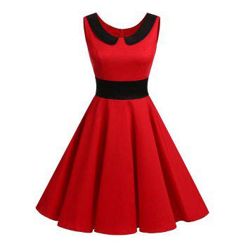 Vintage Peter Pan Collar Party Pin Up Dress - RED RED