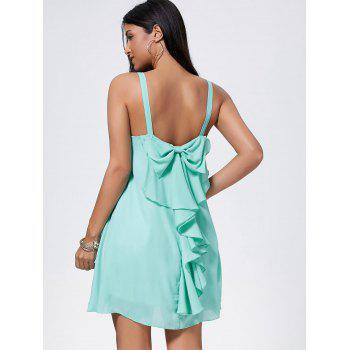 Bowknot Chiffon Mini Trapeze Dress - LIGHT GREEN S
