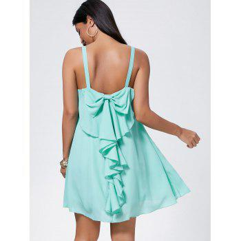 Bowknot Chiffon Mini Trapeze Dress - LIGHT GREEN L