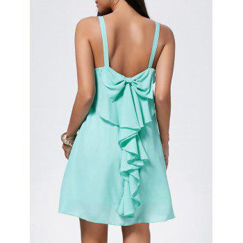 Bowknot Chiffon Mini Trapeze Dress - LIGHT GREEN LIGHT GREEN