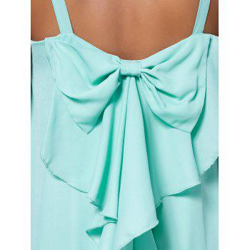 Bowknot Chiffon Mini Trapeze Dress - Vert clair XL