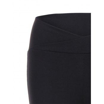 High Waisted Fitted Sport Pants - BLACK M