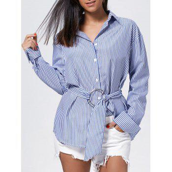 Striped Button Up Oversized Shirt
