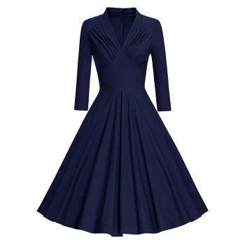 Vintage Long Sleeve Pleated Pinup Dress