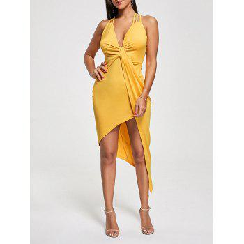 Criss Cross Cutout Front Twist Asymmetric Club Dress - YELLOW M