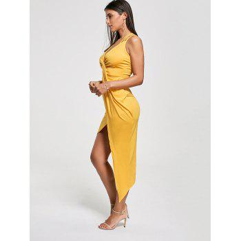 Criss Cross Cutout Front Twist Asymmetric Club Dress - YELLOW S