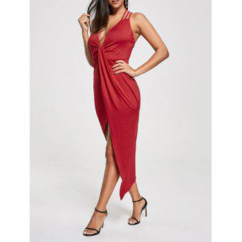 Criss Cross Cutout Front Twist Asymmetric Club Dress - RED RED