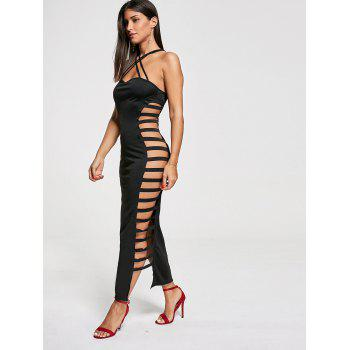Sexy Cut Out Criss Cross Club Dress - BLACK BLACK