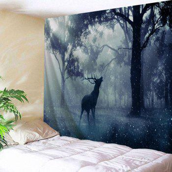 Mist Forest Deer Wall Hanging Tapestry - BLUE GRAY W71 INCH * L91 INCH
