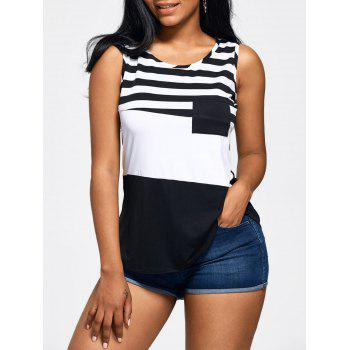 Front Pocket Color Block Stripe Tank Top