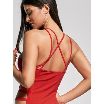 Sexy Cut Out Criss Cross Club Dress - Rouge L