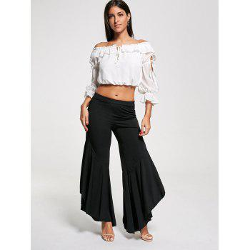 Flounce High Waist Palazzo Pants - BLACK XL