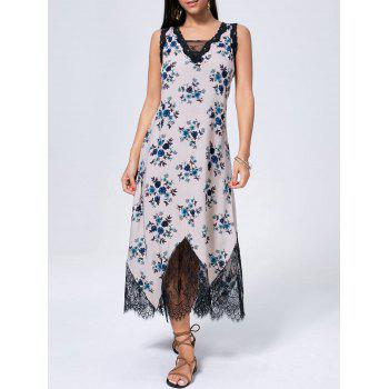 Floral Print Lace Trim Sleeveless Maxi Dress