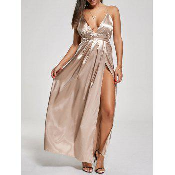 High Slit Backless Metallic Evening Maxi Dress