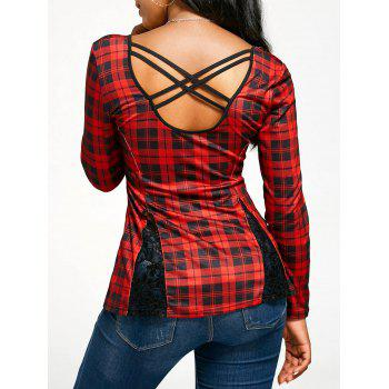 Long Sleeve Cross Back Tartan T-shirt