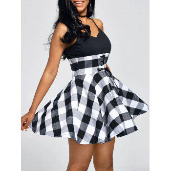 Empire Waist Tartan Print Slip Dress