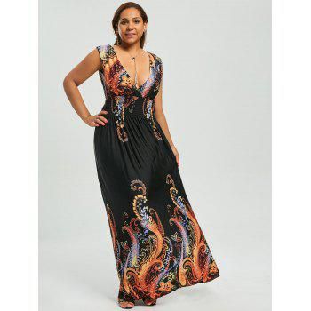 paisley plus size plunge v neck maxi bohemian dress, black, xl in