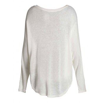 Dolman Sleeve Asymmetrical Pullover Sweater - WHITE XL