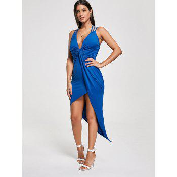 Criss Cross Cutout Front Twist Asymmetric Club Dress - BLUE BLUE